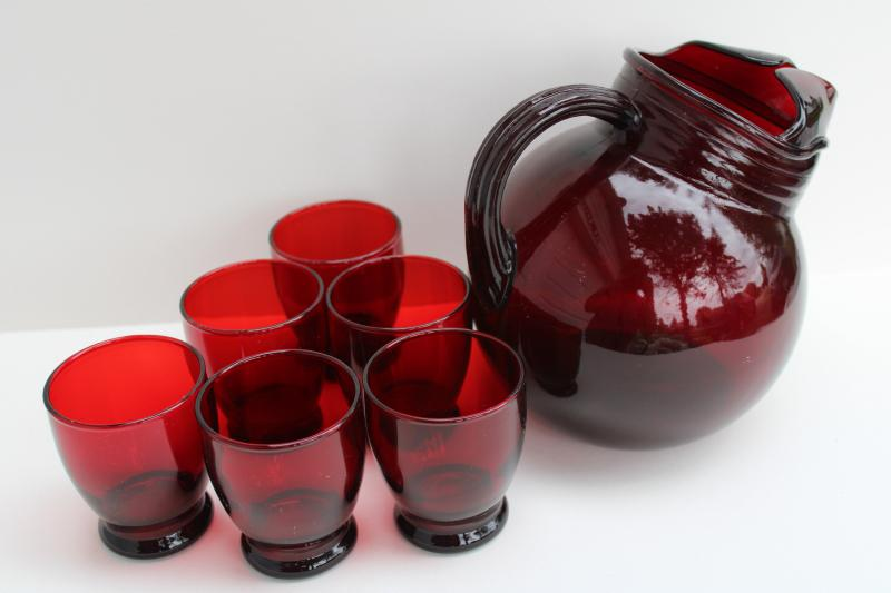 vintage royal ruby red depression glass, ball tilt pitcher & juice glasses