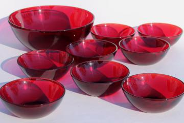 vintage royal ruby red glass bowls, salad set or popcorn / snack dishes