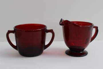 vintage royal ruby red glass cream pitcher & sugar set, creamer & open sugar bowl