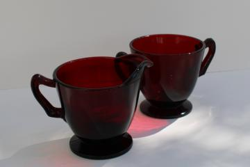 vintage royal ruby red glass cream & sugar set, pitcher & open footed sugar bowl