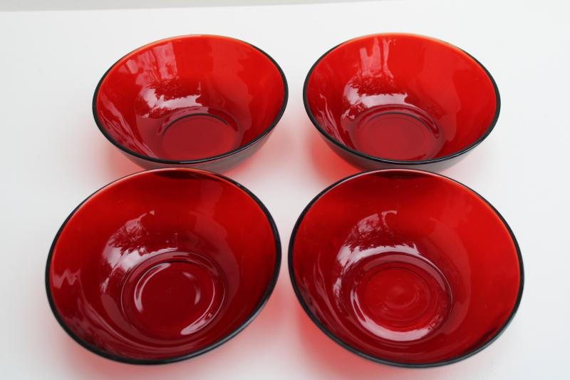 vintage royal ruby red glass salad or fruit bowls, set of four small dishes