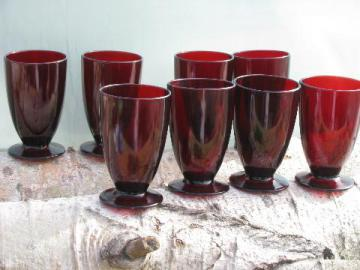 vintage royal ruby red glass, set of eight footed tumblers