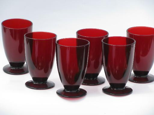 Vintage Royal Ruby Red Glass Set Of Eight Footed Tumblers