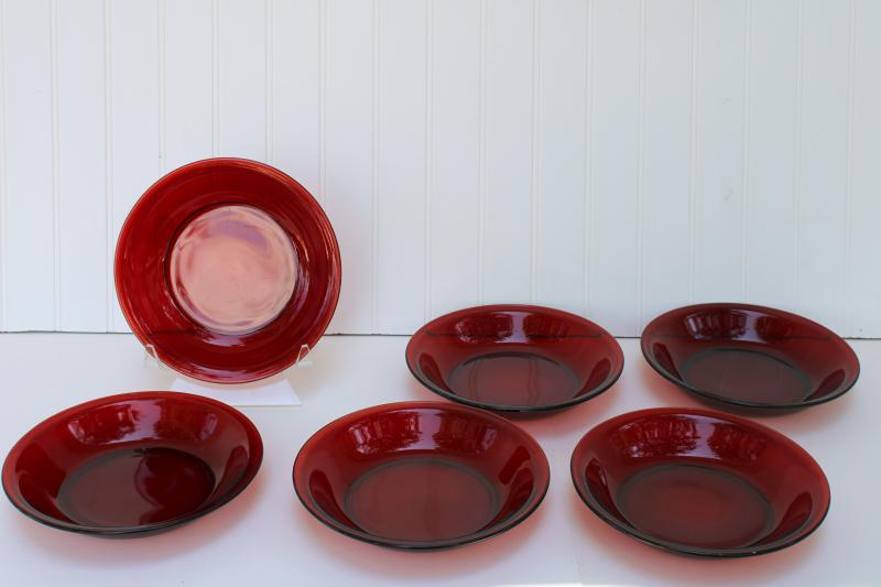 vintage royal ruby red glass soup bowls, set of six pie plate shape dishes