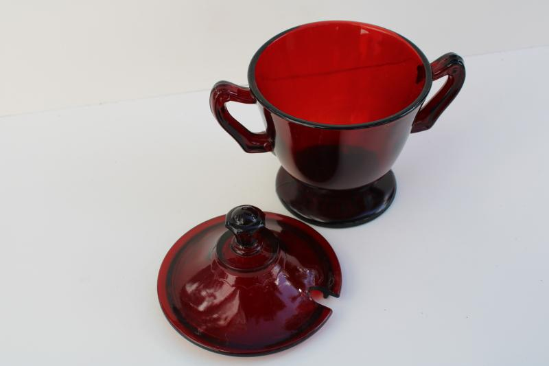 vintage royal ruby red glass sugar bowl or jam jar w/ notched lid for spoon