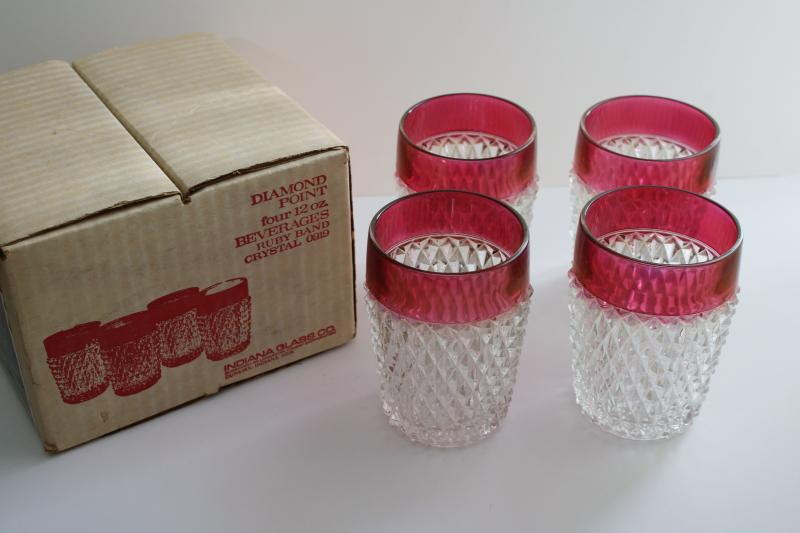 vintage ruby band diamond point Indiana glass drinking glasses, lowball tumblers