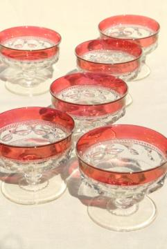 vintage ruby flashed King's Crown pattern glass, sherbet dishes or champagne glasses