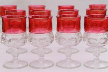 vintage ruby flashed King's Crown pattern glass stemware, set of 12 water glasses