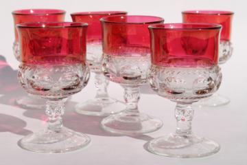 vintage ruby flashed King's Crown pattern glass stemware, set of six wine glasses