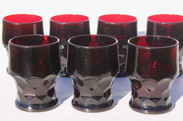 vintage ruby red Georgian pattern glass tumblers drinking glasses