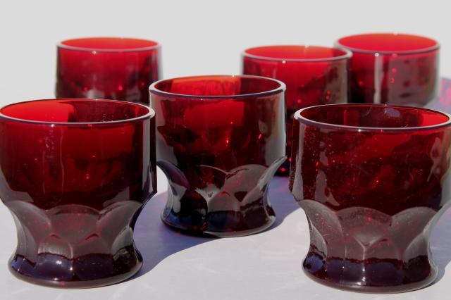vintage ruby red Georgian pattern glass tumblers drinking ...