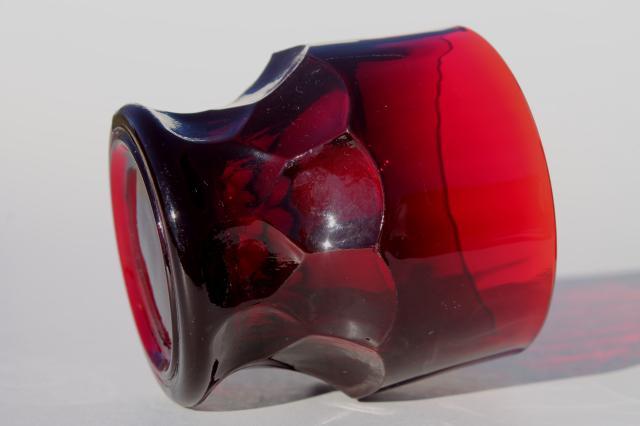 Vintage Ruby Red Georgian Pattern Glass Tumblers Drinking