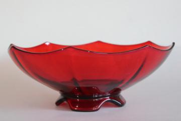 vintage ruby red elegant glass footed bowl art deco octagon Molly Imperial glass