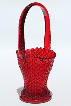 vintage ruby red glass brides basket flower vase, Westmoreland English hobnail