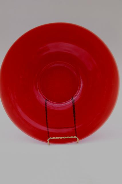 vintage ruby red glass cake plate or relish tray, French kitchen glass?