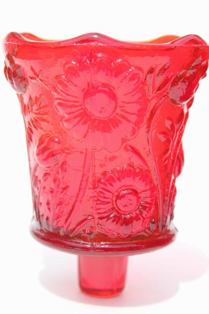 vintage ruby red glass candle cups, Homco Home Interiors votive or tea light holders