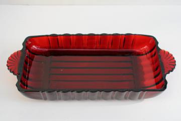 vintage ruby red glass cranberry tray or relish dish, rectangular serving plate