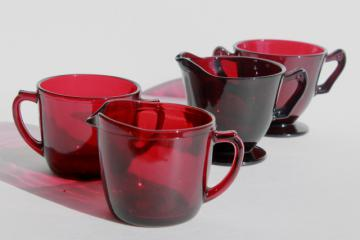 vintage ruby red glass cream pitcher & sugar bowl sets, 50s Anchor Hocking