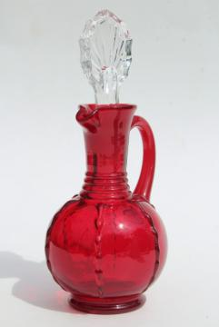 vintage ruby red glass cruet w/ crystal clear stopper, Paden City crow's foot