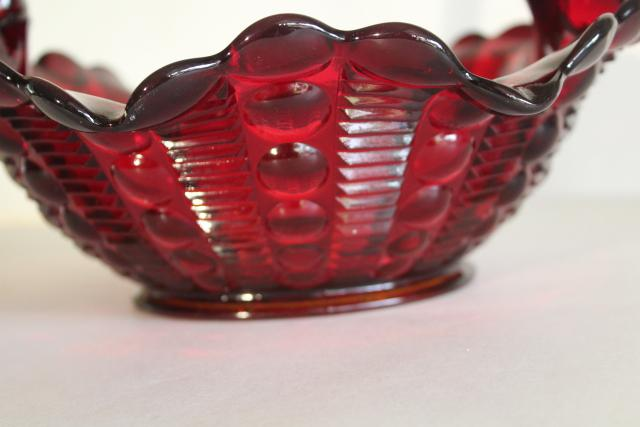 vintage ruby red glass dewdrop pattern basket, JD Tiara Indiana glass fruit intaglio