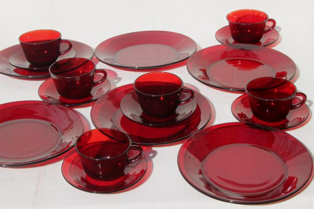 Elegant Vintage Ruby Red Glass Dishes Dinnerware Set For 6, Dinner Plates, Cups U0026  Saucers