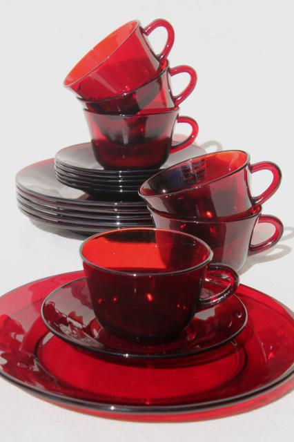 Vintage Ruby Red Glass Dishes Dinnerware Set For 6, Dinner Plates, Cups U0026  Saucers