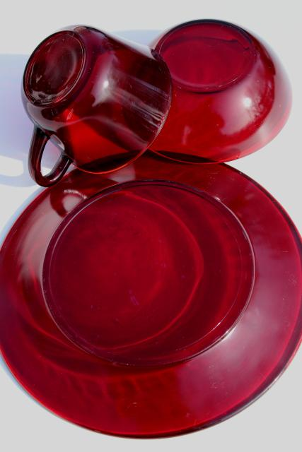 Vintage Ruby Red Glass Dishes Plates Bowls Mug Cups