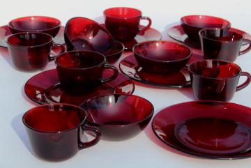 vintage ruby red glass dishes - plates, bowls, mug cups set for 6