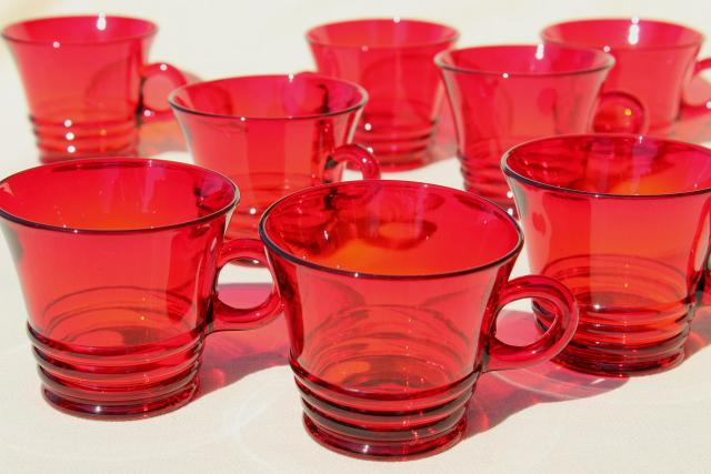 vintage ruby red glass mugs or punch cups, 1930s Paden City Penny line depression glass