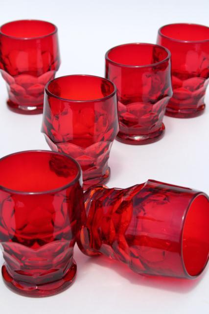 Vintage Ruby Red Glass Tumblers Georgian Pattern Drinking