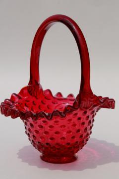 vintage ruby red hobnail glass brides's basket w/ Fenton glass label