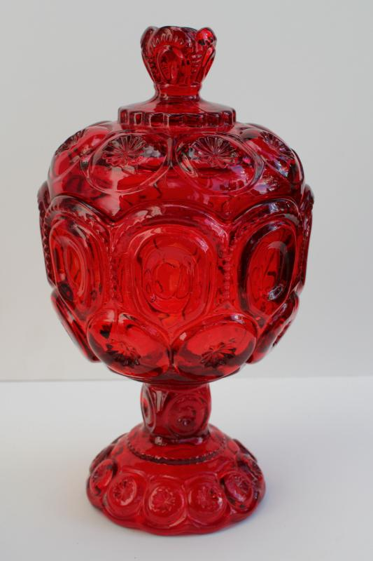 vintage ruby red moon and stars pattern glass, tall pedestal candy dish or small compote