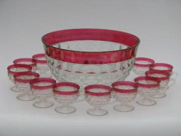vintage ruby stain Whitehall cube pattern glass punch bowl and cups set