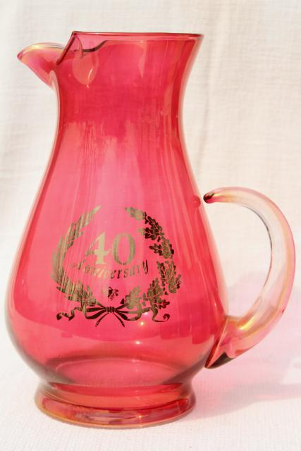 vintage ruby stain glass 40th anniversary pitcher & tumblers, West Virginia glass