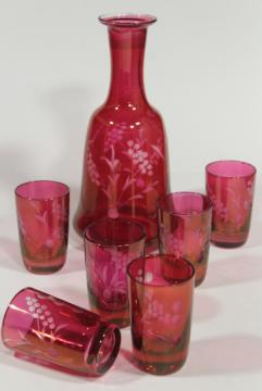 vintage ruby stain glass bottle & whiskey glasses, etched cut to clear shots and decanter