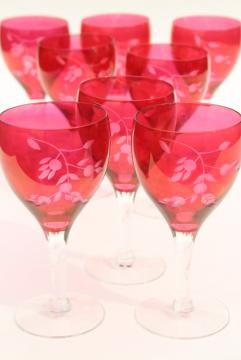 vintage ruby stain glass wine glasses, etched cut stemware red w/ clear stems