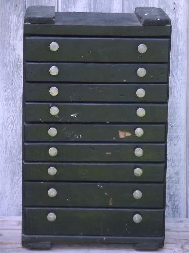 Vintage Rustic Industrial Drawers Tool Box Old Antique