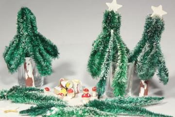 vintage rustic woodland Christmas decorations, bottle brush trees, miniature toadstool mushrooms
