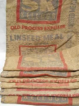 vintage sacks lot, farm primitive burlap feed bags w/ advertising graphics