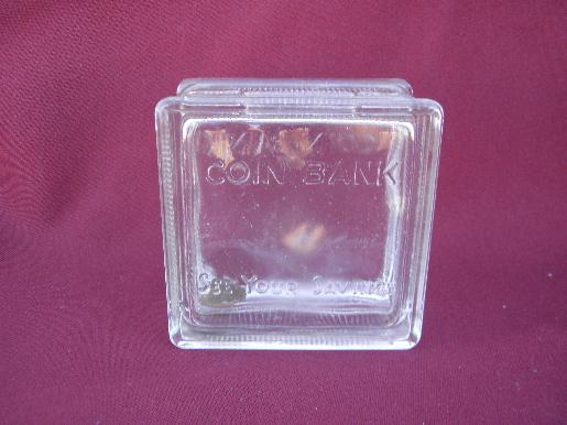 Vintage Salesman S Sample Size Glass Window Block Coin Bank