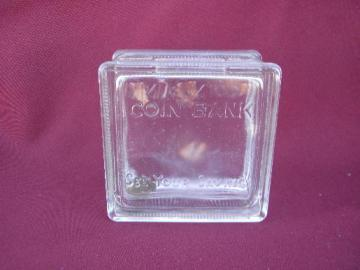 vintage salesman's sample size glass window block coin bank