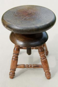 vintage salesman's sample working wood piano stool, miniature toy furniture, doll sized