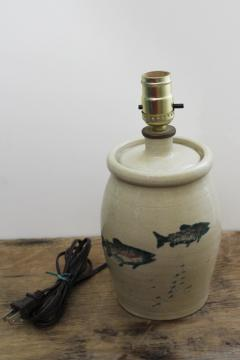 vintage salt glazed stoneware pottery table lamp w/ painted fish, rustic lake camp decor