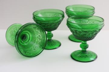 vintage sandwich pattern glass champagne glasses, forest green goblets Portugal
