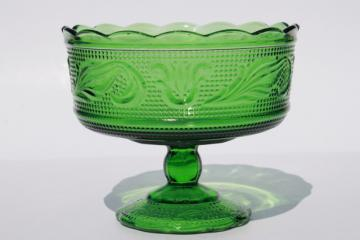 vintage sandwich pattern glass green flower planter vase or compote bowl