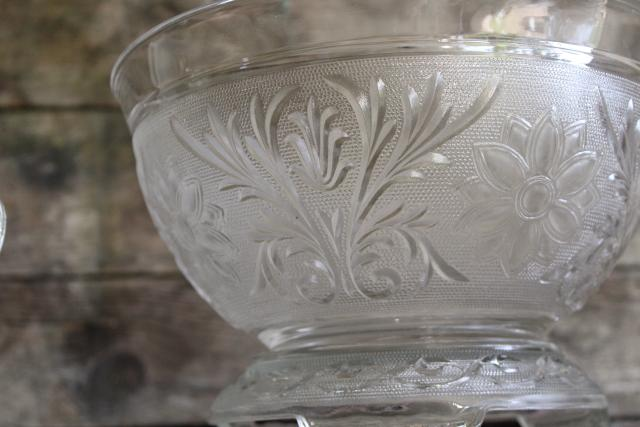vintage sandwich pattern pressed glass punch set, crystal clear daisy bowl & cups