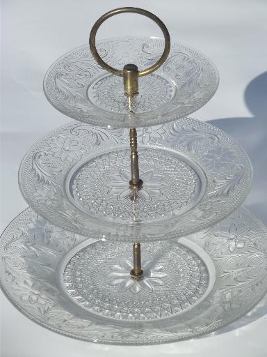 Vintage Sandwich Pattern Pressed Glass Three Tier Plate