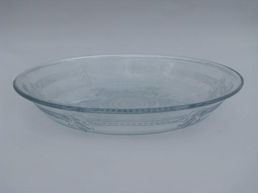 Perfect vintage sapphire blue Fire-King Philbe glass pie plate and mixing bowl GL35