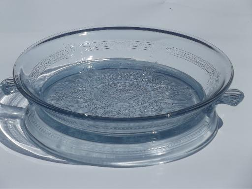 New vintage sapphire blue Fire-King Philbe glass pie plate and trivet  GA37