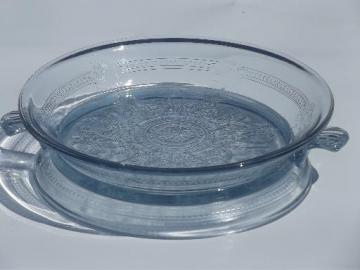vintage sapphire blue Fire-King Philbe glass pie plate and trivet / stand